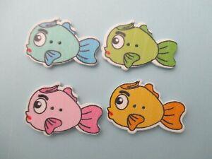 10 X madera en forma de pez de colores mezclados al azar chatarra de reserva Costura Botones
