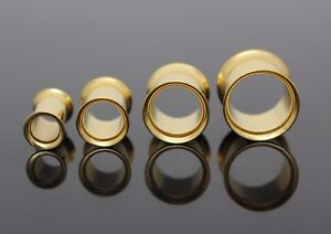 14K YELLOW GOLD IP ROUND SCREW FLESH DOUBLE FLARED TUNNEL EAR PLUG SPACER EARLET