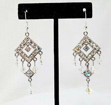 Vintage AB-Coated Crystal Diamond-Shaped Dangle Earrings
