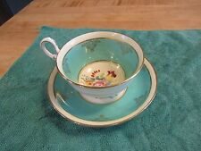Old Royal Bone China Tea Cup and Saucer Floral pretty Green Unique