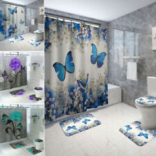 Butterfly Rose Shower Curtain Bath Set Waterproof Toilet Lid Cover Floor Mat
