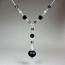 Black grey crystals vintage silver chain drop necklace wedding party gift