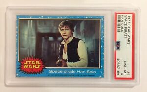 1977 TOPPS STAR WARS TRADING CARD - SERIES 1: BLUE - #4 HAN SOLO PIRATE - PSA 8