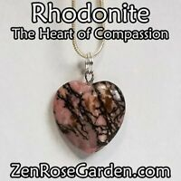 """Rhodonite Small Heart Necklace, Crystal Heart Pendant Necklace 18"""""""