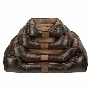 Bunty Tuscan Luxury Faux Leather Soft Fur Fleece Large Dog Bed Pet Cat Basket