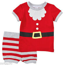 BABY size 0 CHRISTMAS SANTA Summer PYJAMAS NEW  6 -12 mths outfit  pjs *FADE*