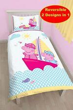 Nuevo Peppa Pig náuticos de diseño individual duvet cover quilt Set-Niñas Niños Dormitorio