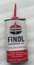 VINTAGE STANDARD FINOL HOUSEHOLD OIL CAN A STANDARD OIL COMPANY PRODUCT USA oval