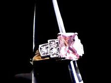 Pink Topaz Sparkler & Austrian Crystals 18Kt. White & Yellow Gold Filled Sz. 8
