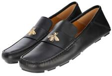 NEW GUCCI MEN'S CURRENT BLACK LEATHER BEE EMBROIDER DRIVERS MOCCASINS SHOES 9