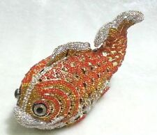 Orange Fish~Gold Color Handmade Crystal 3D Shaped Purse Cocktail Evening Bag NEW