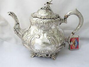 LARGE ORNATE VICTORIAN 'LOUIS' TEA POT - SILVER PLATE EPNS 1870
