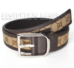 GUCCI brown 44-110 leather ORIGINAL GG canvas paladium Logo buckle belt NWT Auth