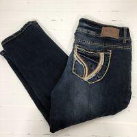 Ariya Jeans Distressed Fade Dark Wash Straight Leg Stretch Capri Jeans 11/12