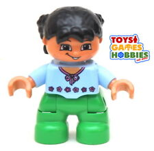 *NEW* LEGO DUPLO Small Child Girl Figure Minifigure Braids Black Hair Blue Shirt