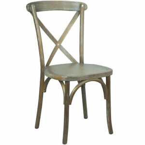 Bistro Style Cross Back Medium White Grain Wood Stack Restaurant Dining Chair