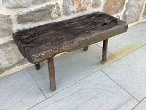 Vintage Hungarian wooden milking stool/bench