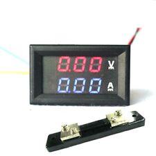 """Dual LED Digital Voltmeter Ammeter Panel Tester 0.28"""" DC 100V 50A Red Blue Shunt"""