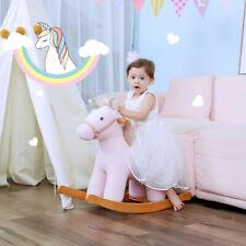 Pink Plush Unicorn Wooden Rocking Horse Toys Kids Ride On Stuffed Animal Rockers