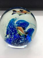 "Vintage  Aquarium/Ocean Art Glass Paperweight-Anemone/Sunfish W/ Coral 4"" Nice"