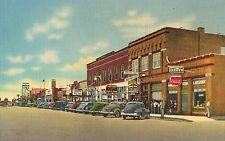 Lordsburg,NM,Railroad Ave.Looking East,Drug Store Coca Cola Sign,Linen,c.1940s