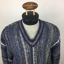 Tundra Canada Mens Large Blue Cosby Coogie Style 3D Textured V- Neck Sweater