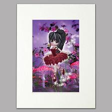 """Little Ballet Fairy Print women & girls red/purple Mounted Wall Art A4 12"""" x 16"""""""