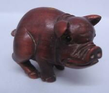 Giapponese Intagliata A Mano Di Legno Perlina Ojime-Pig