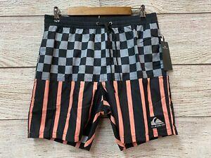 "Quiksilver Swim Trunks Mens XL (34-41"" Waist) Check Volley Swim Trunk Shorts New"