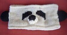 PANDA BEAR Animal Headband 100% Wool Hand Crocheted Fleece Lining Toddler Size