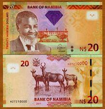 Namibia, 20 dollars, 2011 (2012) P-New, UNC > Antelopes