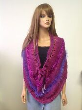 Hand Knit Circular Shawl Poncho Caplet Cowl Designer Fashion Purple  Ombre Berry