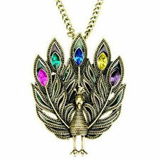 Vintage Art Deco tail display bronze crystal peacock necklace