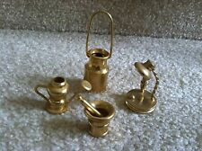 Miniature Brass Doll House Accessories Milk Can, Water Can, Lamp & Mortar Pestle