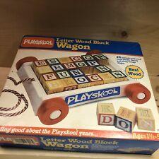 Vintage Playskool Colored Wood Block Wagon 1983-COMPLETE In Original Box