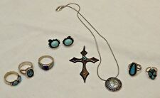 Group of Vintage Silver & Turquoise Jewelry - Rings Necklace Earrings & Pendant