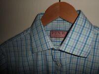 "Stunning THOMAS PINK London Mens Shirt Short Sleeve Blue SIZE MEDIUM 15.5"""