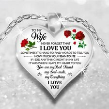 To My Wife I Love You Husband Heart Rose Necklace Birthday Anniversary Gift N177