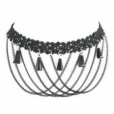 princess gothic tassel lace chocker necklace with web chain By Controse