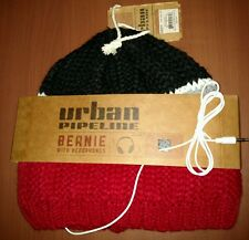 NWT URBAN PIPELINE CORDED HEADPHONES BEANIE WINTER HAT RED, GRAY, BLACK $24