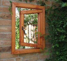 Illusion Garden Mirror Single Opening Window - Wooden - Garden Gift