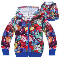Girl/Boy's Pokemon Go Hoodies Sweater Zipper Hooded Jumper Shirts Top 4-12Years