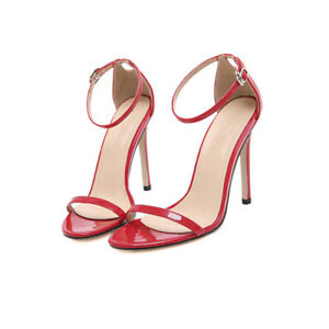 Sexy Plus Size Sandals Womens Casual Ankle Strap Buckle Super High Stiletto Heel
