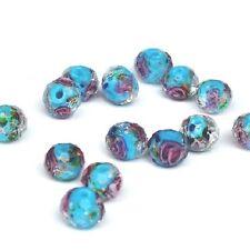 5 Perles Bleues Rondes Rondelles à facettes Fleurs Bleu Sable d'Or 10mm x 7mm