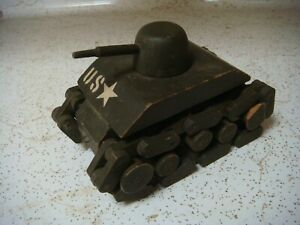 Vintage WWII wooden toy tank