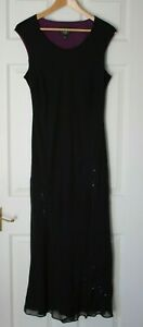 Laura Ashley ~ Black and Purple Sleeveless Silk Dress ~ Size 16