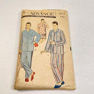 vtg sewing pattern advance mens pajamas usa cut 8217