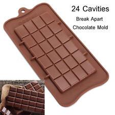 24 Chocolate Mould Bar Break Apart Choc Block Ice Tray Silicone Cake Bake Mold
