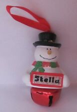 25406 STELLA NAME FROSTY SNOWMAN COLOUR BELL CHRISTMAS TREE DECORATION GIFT