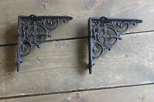 Vintage Shelf Brackets Religious Cross Cast Iron